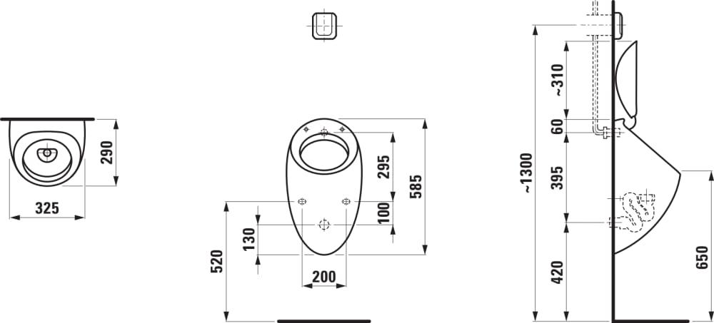 Urinol de descarga horizontal com tampa e jogo de fixação